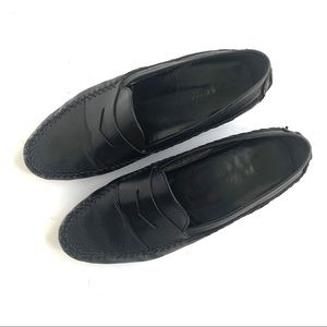 BALLY BLACK LEATHER DRIVING SLIP ON LOAFERS